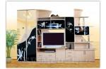 Гостиный гарнитур Гамма 5 с черными стеклами (выбеленный дуб)