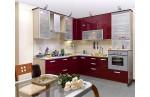Угловая кухня Гранат пластик